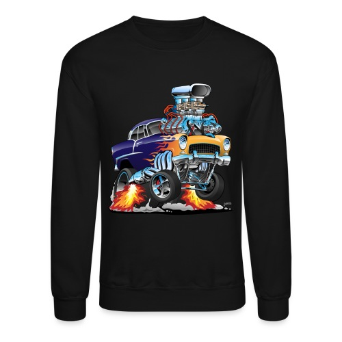 Classic Fifties Hot Rod Muscle Car Cartoon - Crewneck Sweatshirt