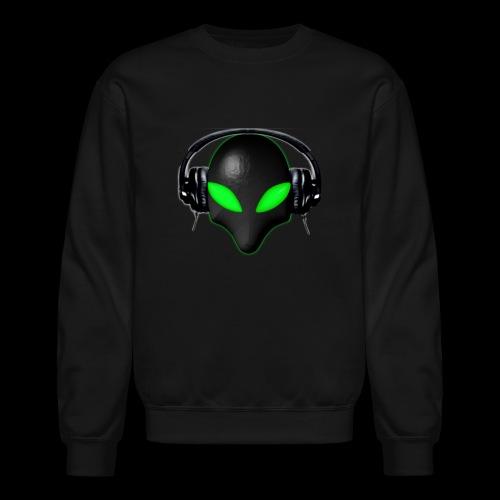 Alien Bug Face Green Eyes in DJ Headphones - Crewneck Sweatshirt