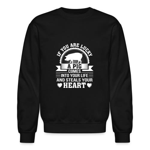Mini Pig Comes Your Life Steals Heart - Crewneck Sweatshirt