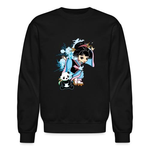 Cartoon Kawaii Geisha Panda Ladies T-shirt by - Crewneck Sweatshirt