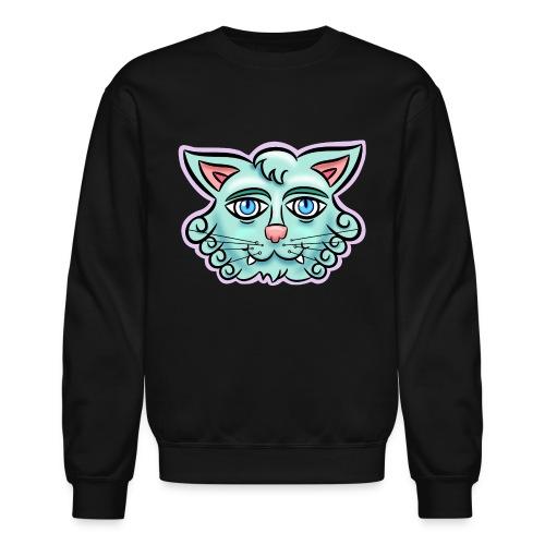 Happy Cat Teal - Unisex Crewneck Sweatshirt