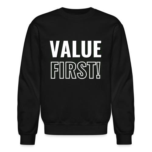 Value First Design - White Text - Unisex Crewneck Sweatshirt