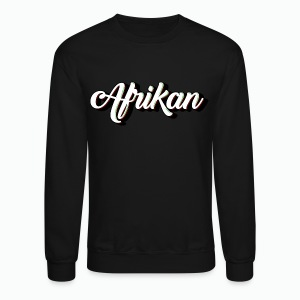 Cursive Afrikan Black with White fill - Crewneck Sweatshirt