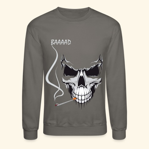 bad smoking skull long sleeve shirts - Crewneck Sweatshirt