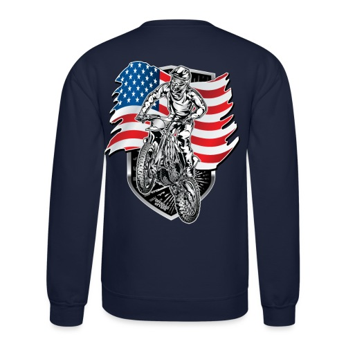 Motocross USA Flag - Crewneck Sweatshirt