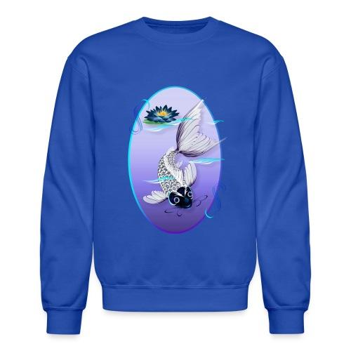 White Koi-Blue Lily Oval - Crewneck Sweatshirt