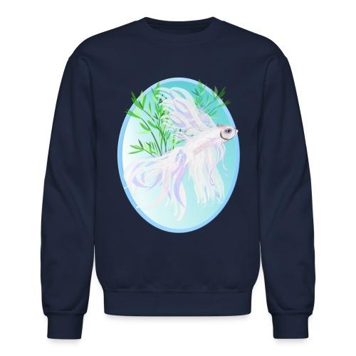 White Siamese Fighting Fish Oval - Crewneck Sweatshirt