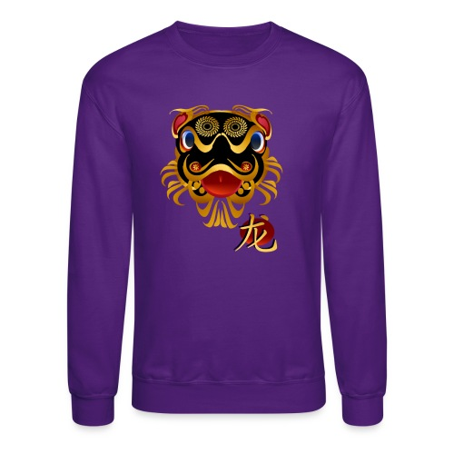 Black n Gold Chinese Dragon 's Face and Symbol - Crewneck Sweatshirt