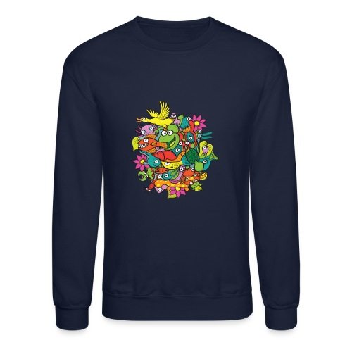 Amazing crowd of funny creatures living in a pond - Crewneck Sweatshirt