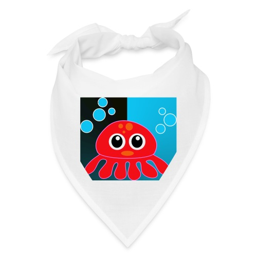 Red Octopus on Blue/Black - Bandana