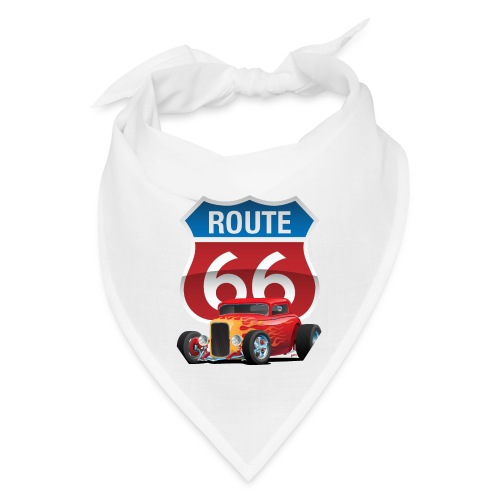Route 66 Sign with Classic American Red Hotrod - Bandana