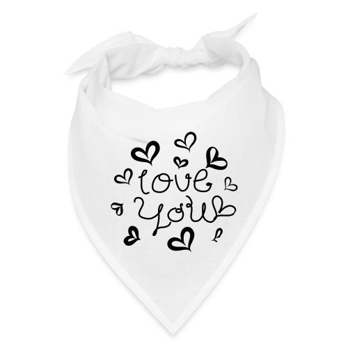 Love You hand-drawn font with hearts 1 - Bandana