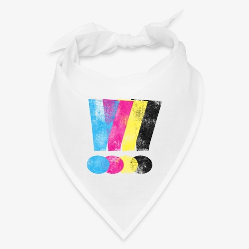 Large Distressed CMYW Exclamation Points - Bandana