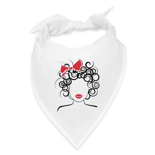 Curly Girl with Red Bow_Global Couture_logo T-Shir - Bandana