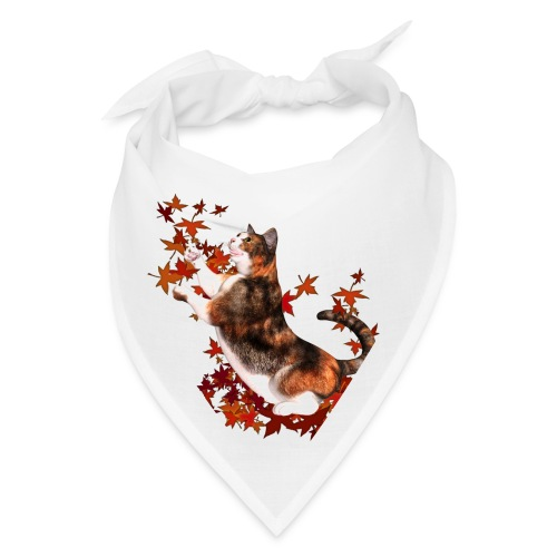 Autumn Cat - cat playing with autumn leaves - Bandana