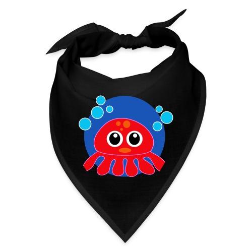 Red Octopus on Blue Circle - Bandana