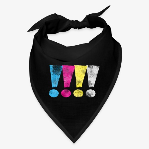 Distressed CMYK(W) Graphic Exclamation Points - Bandana
