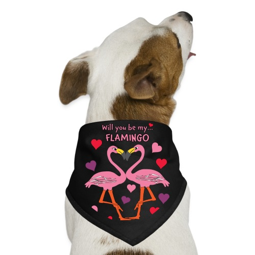 Will You be my Flamingo Valentine Kisses - Dog Bandana