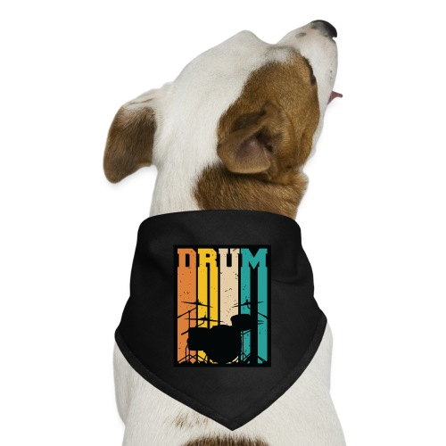 Retro Drum Set Silhouette Illustration - Dog Bandana