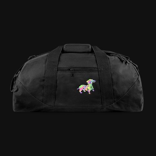dachshund silhouette splatter - Duffel Bag