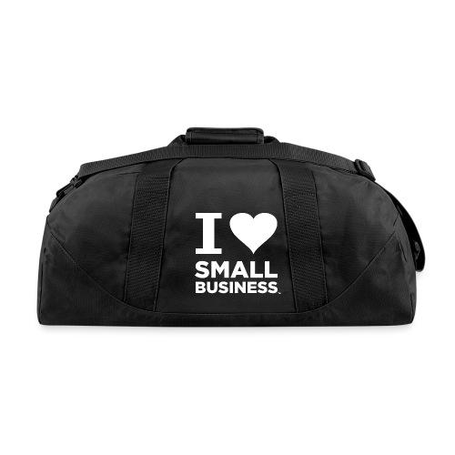 I Heart Small Business Logo (All White) - Duffel Bag