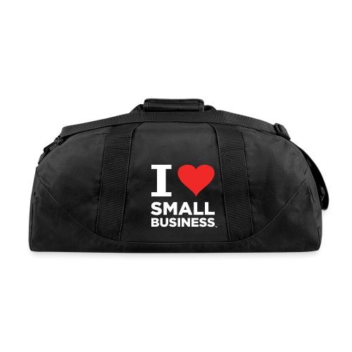I Heart Small Business Logo (Red & White) - Duffel Bag