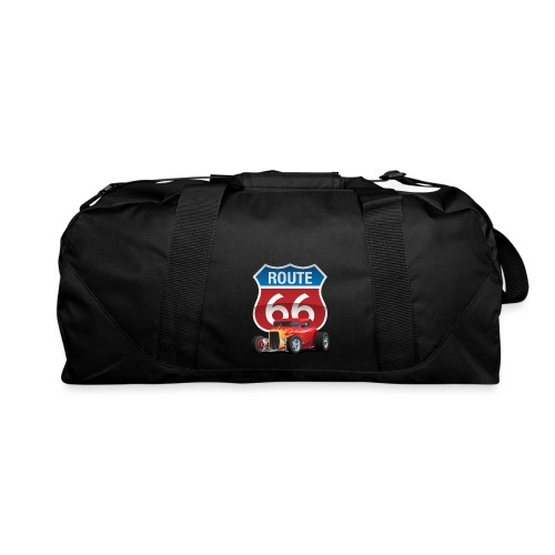 Route 66 Sign with Classic American Red Hotrod - Duffel Bag