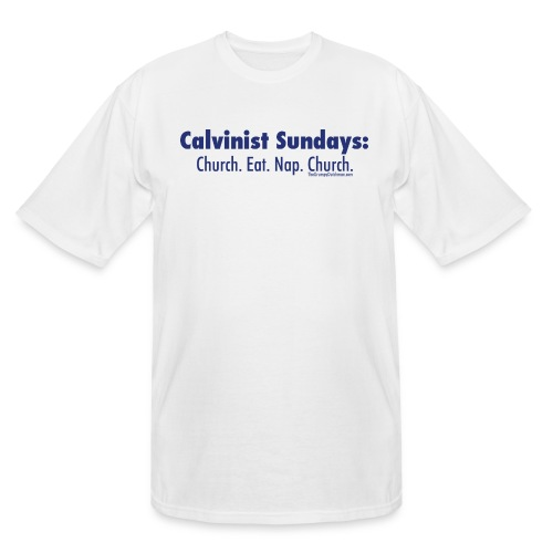 32 Calvinist Sundays blue lettering - Men's Tall T-Shirt