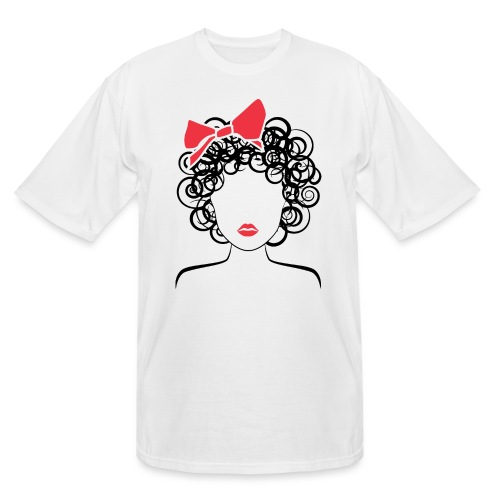 Coily Girl with Red Bow_Global Couture_logo Long S - Men's Tall T-Shirt