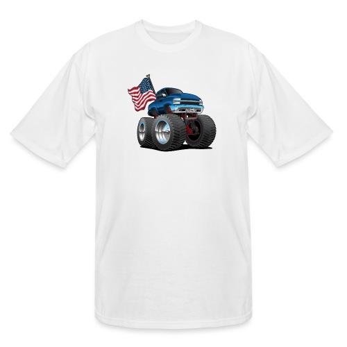 Monster Pickup Truck with USA Flag Cartoon - Men's Tall T-Shirt