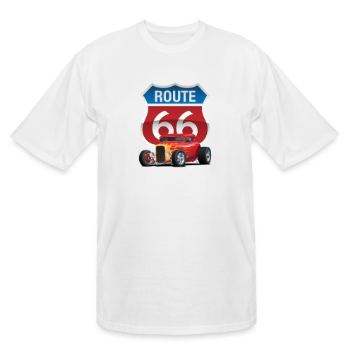 Route 66 Sign with Classic American Red Hotrod - Men's Tall T-Shirt