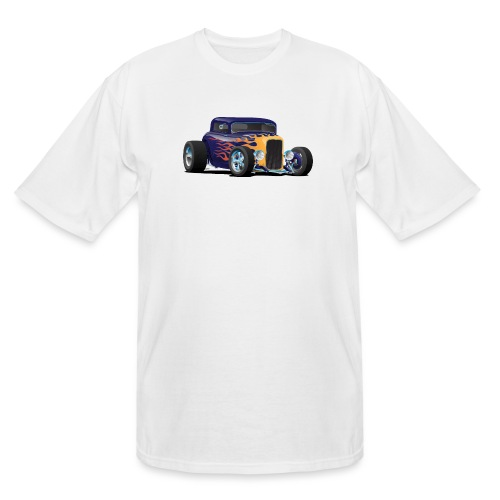 Vintage Hot Rod Car with Classic Flames - Men's Tall T-Shirt