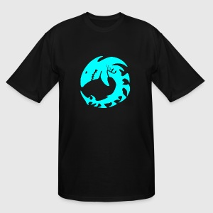 Shark - Aqua Colored Shark Skeleton Native Anima - Men's Tall T-Shirt