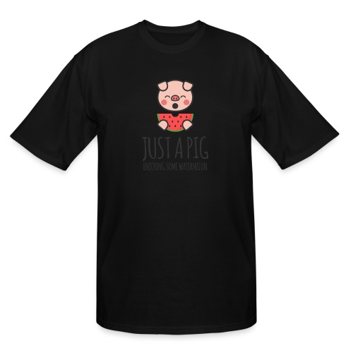 Just A Pig Enjoying Some Watermelon - Men's Tall T-Shirt