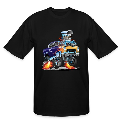 Classic Fifties Hot Rod Muscle Car Cartoon - Men's Tall T-Shirt