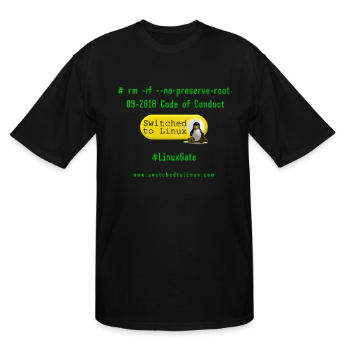 rm Linux Code of Conduct - Men's Tall T-Shirt