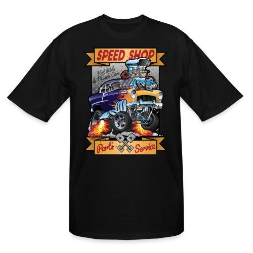 Speed Shop Hot Rod Muscle Car Cartoon Illustration - Men's Tall T-Shirt