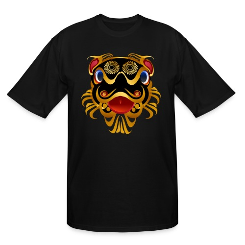 Black 'n Gold Chinese Dragon Face - Men's Tall T-Shirt