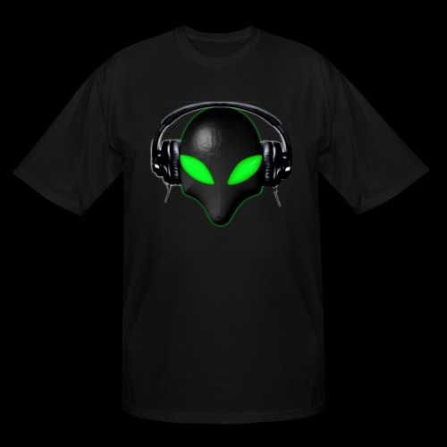 Alien Bug Face Green Eyes in DJ Headphones - Men's Tall T-Shirt
