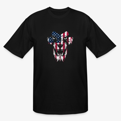American Flag Lion - Men's Tall T-Shirt