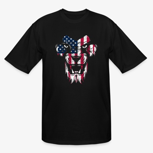 American Flag Lion - Men's Tall T-Shirt