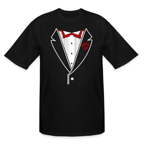 Tuxedo with Red bow tie - Men's Tall T-Shirt
