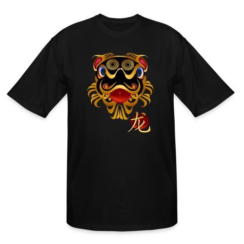 Black n Gold Chinese Dragon 's Face and Symbol - Men's Tall T-Shirt