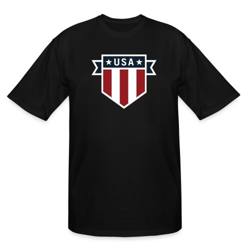 USA Pride Red White and Blue Patriotic Shield - Men's Tall T-Shirt
