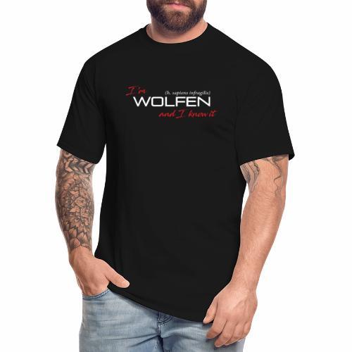 Front/Back: Wolfen Atitude on Dark - Adapt or Die - Men's Tall T-Shirt