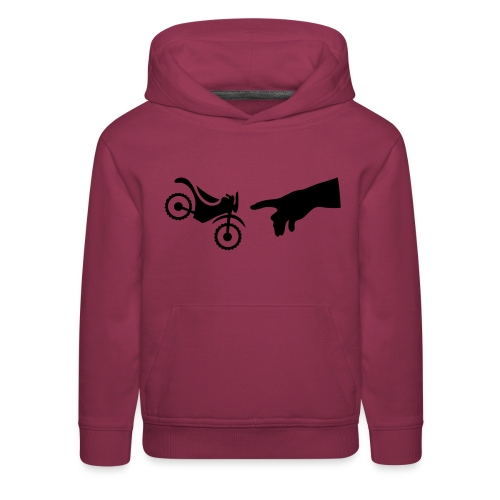 The hand of god brakes a motorcycle as an allegory - Kids' Premium Hoodie