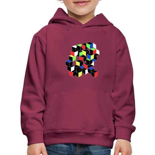 Optical Illusion Shirt - Cubes in 6 colors- Cubist - Kids' Premium Hoodie