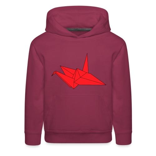 Origami Paper Crane Design - Red - Kids' Premium Hoodie