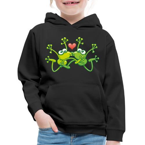Frogs in love performing an acrobatic jumping kiss - Kids' Premium Hoodie