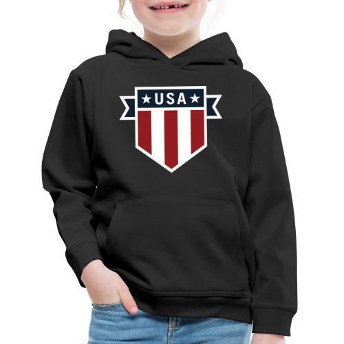 USA Pride Red White and Blue Patriotic Shield - Kids' Premium Hoodie